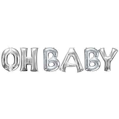 "Kit di palloncini in foil argento ""OH BABY"" - 40 cm"