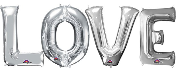 Kit di palloncini in foil argento LOVE - 40 cm