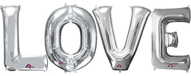 Set palloncini in foil argento LOVE - 86 cm