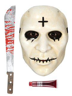 Set accessori Croce purificatrice - Maschera, machete, sangue finto
