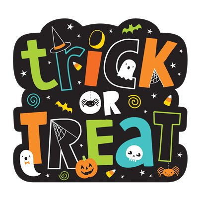 Poster di Halloween scritta Trick or treat (38 x 36 cm)