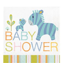 Happi Jungle - Tovaglioli di carta Baby shower 33 cm