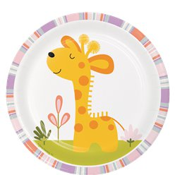 Piatti da dessert giraffa Happi Jungle - Piatti di carta 18 cm