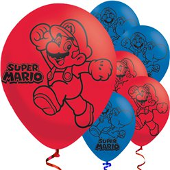 Super Mario - Palloncini in lattice rossi e blu 23 cm