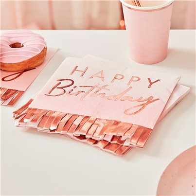 Tovaglioli di carta con frange oro rosa Happy Birthday