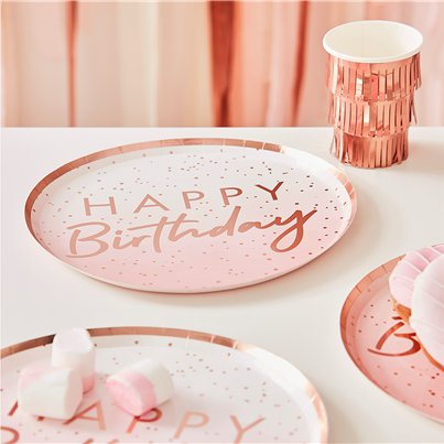 Piatti di carta oro rosa Happy Birthday