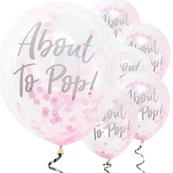 "Oh Baby - Palloncini in lattice con coriandoli rosa scritta ""About To Pop"""