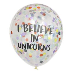 "Palloncini in lattice con coriandoli ""I believe in Unicorns"" - 30 cm"
