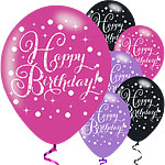 Palloncini in lattice Happy Birthday mix brillanti rosa - 28 cm