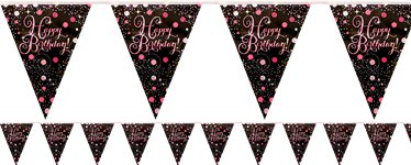 Bandierine rosa brillanti Happy Birthday - 4 m