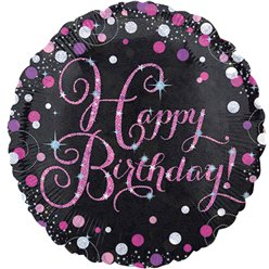 Palloncino in foil Happy Birthday brillanti rosa - 45 cm