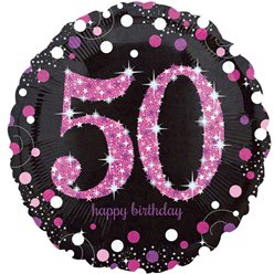 Palloncino in foil Happy Birthday 50 anni brillante rosa - 45 cm