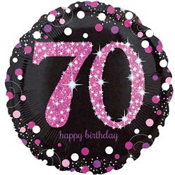 Palloncino in foil 70 anni Happy Birthday brillanti rosa - 45 cm
