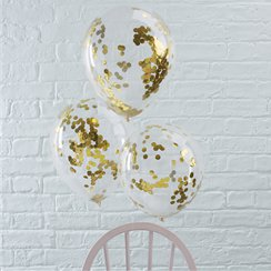 Palloncini in lattice con coriandoli oro Pick & mix - 30 cm