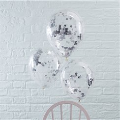 Palloncini in lattice con coriandoli argento Pick & mix - 30 cm