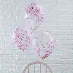 Palloncini in lattice con coriandoli rosa Pick & mix - 30 cm