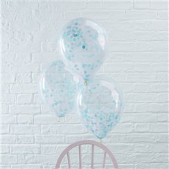 Palloncini in lattice con coriandoli azzurri Pick & mix - 30 cm