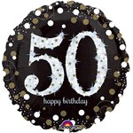 Palloncino in foil Happy Birthday 50 anni brillante oro - 45 cm