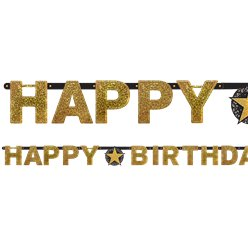 Festone di carta a lettere con scritta Happy Birthday brillanti oro - 2,1 m