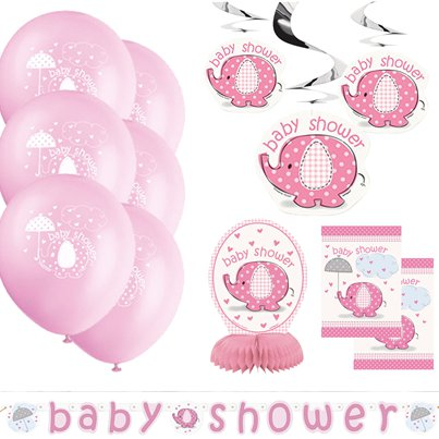 Set decorazioni per baby shower rosa con elefanti