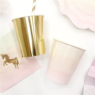 Bicchieri di carta oro e rosa We love unicorn - 255 ml