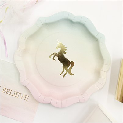 Piatti di carta We love Unicorn - 18 cm
