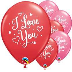 Palloncini in lattice rossi e rosa scritta I love you con cuori - 28 cm