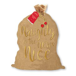 "Sacco per regali di Natale in juta scritta ""Naughty is the new nice"" - 73 cm"